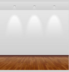 Room with white wall and wooden floor vector image vector image