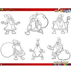 santa claus set coloring book vector image vector image