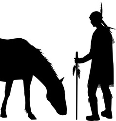 American Indian silhouette with horse vector image vector image