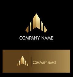 arrow up triangle gold logo vector image