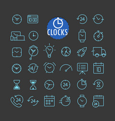 Different clock icons collection web and mobile vector