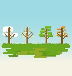 Flat four season tree vector image vector image