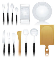 fork knife and various kitchenware vector image