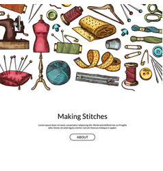 hand drawn sewing elements background vector image vector image