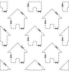 House dashed contour pattern vector image