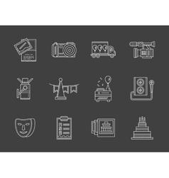 Party agency white line icons vector image vector image