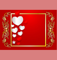 abstract heart shape and golden frame with copy vector image