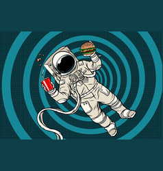 Astronaut in zero gravity with fast food vector