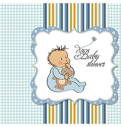 baby announcement card with little boy vector image