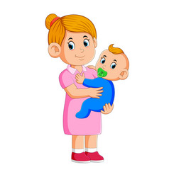 Baby sitter taking care vector