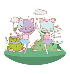 Ballerina cat outdoors cartoon vector