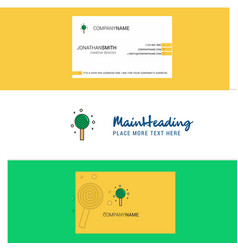 beautiful candy logo and business card vertical vector image