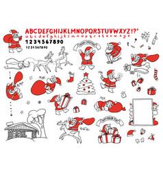 big cute set sketch of santa vector image