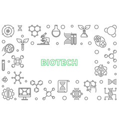 Biotech horizontal outline frame or vector