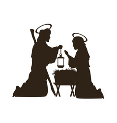 Black silhouette nativity scene catholic vector
