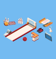 bowling isometric sport leisure fun club for vector image