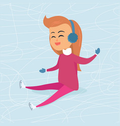 Cartoon girl in blue headphones sits on icerink vector
