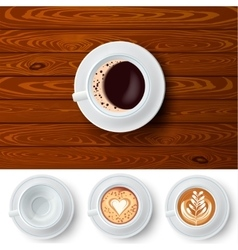 Changeable Coffee Cups On Wood Background vector