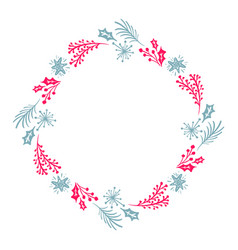 christmas hand drawn wreath red and blue floral vector image