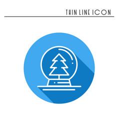 Christmas snow ball thin line icon christmas tree vector