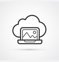 cloud laptop flat line trendy black icon eps10 vector image