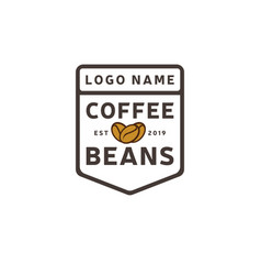coffee beans logo vintage template shield vector image