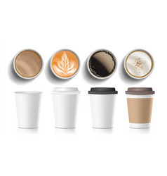 coffee cups top view plastic paper white vector image