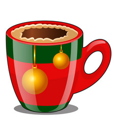 Coffee in porcelain cup decorated in christmas vector