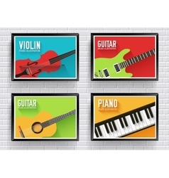 Colorful classical musical instruments background vector