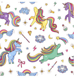 Cute hand drawn magic unicorns and stars vector