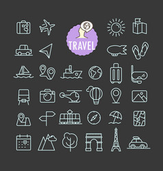 different travel icons collection web and mobile vector image