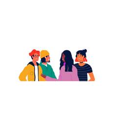 Diverse happy teen people group portrait concept vector