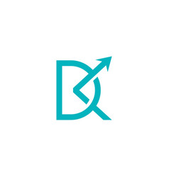 dk letter logo with arrow sign vector image