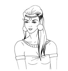 Doodle portrait of an elven princess vector