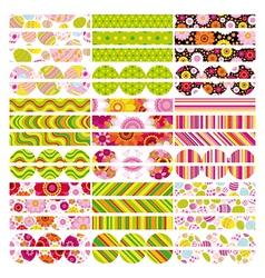Easter set of border design elements vector