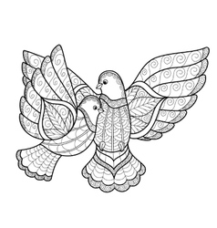 entangle two stylized dove vector image
