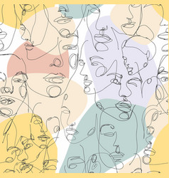 Face line art face painting seamless pattern with vector