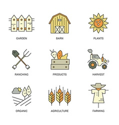 Farming Line Collection vector image