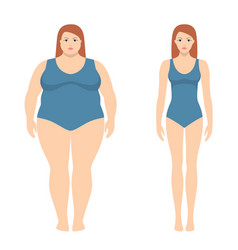 fat and slim woman in flat style vector image