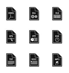 Files icons set simple style vector