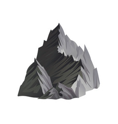flat icon of high gray mountain with sharp vector image