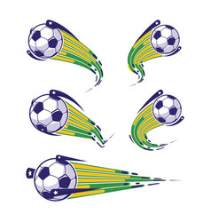Football blue yellow green and soccer symbols set vector