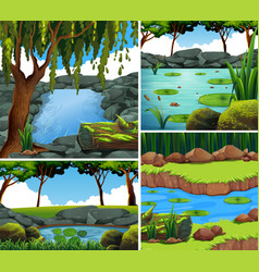 Four background scenes with river in forest vector