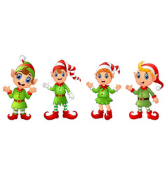 Four christmas elves different poses isolated on w vector