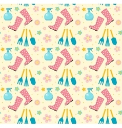 Gardening seamless pattern with garden tools vector image