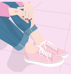 Girl-with-pink-shoes vector