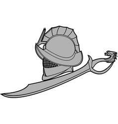 Gladiators helmet with sword vector