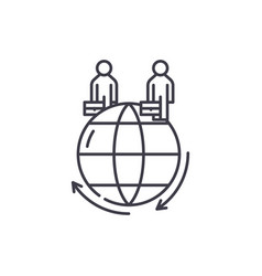global business line icon concept global business vector image