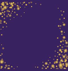 Gold confetti glitter sparkling dots on purple vector