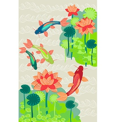 Golden carp on a background water lilies vector